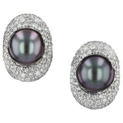 Estate Black Pearl and Diamond Button Earrings