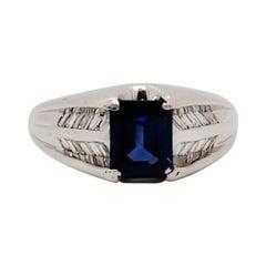 Estate Blue Sapphire and White Diamond Ring in Platinum