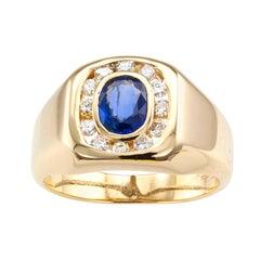 Estate Blue Sapphire Diamond Gold Ring