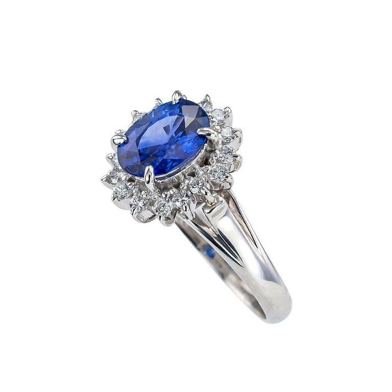 Oval Cut Estate Blue Sapphire Diamond Platinum Ring For Sale
