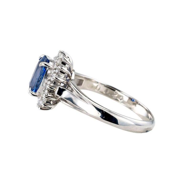 Women's Estate Blue Sapphire Diamond Platinum Ring For Sale