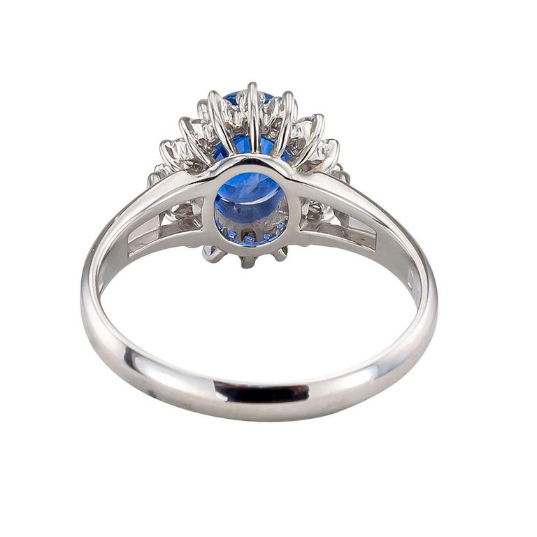 Estate Blue Sapphire Diamond Platinum Ring For Sale 1