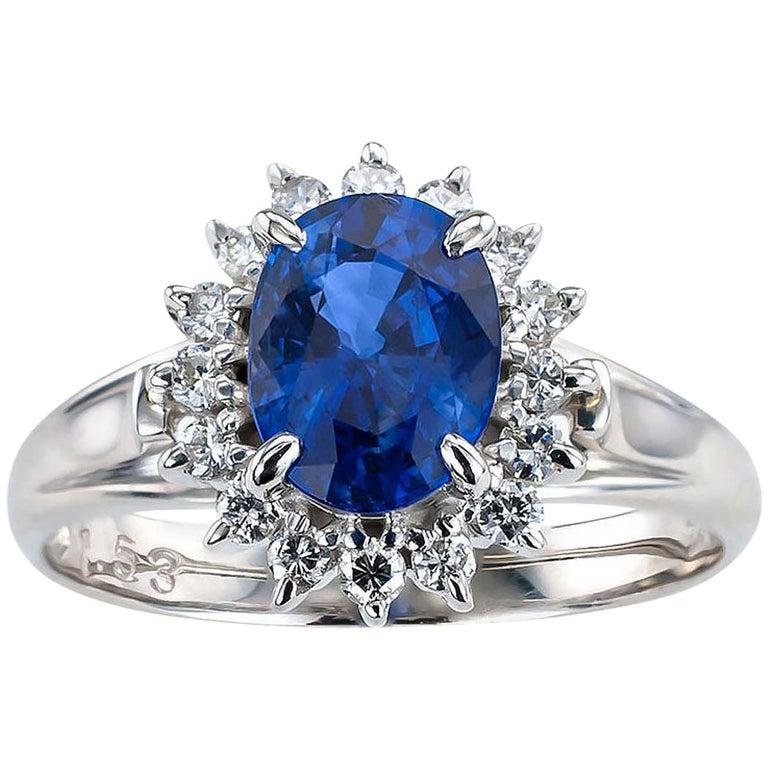 Estate Blue Sapphire Diamond Platinum Ring For Sale