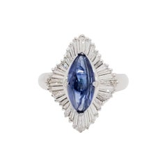 Estate Blue Sapphire Marquise and White Diamond Cocktail Ring in Platinum