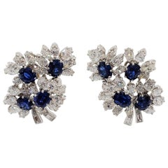 Estate Blue Sapphire Oval and White Diamond Cluster Earrings in Platinum