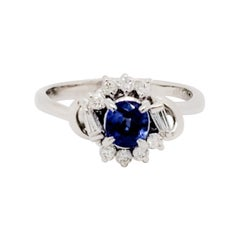 Estate Blue Sapphire Oval and White Diamond Cluster Ring
