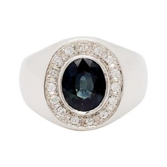 Estate Blue Sapphire Oval and White Diamond Cocktail Ring