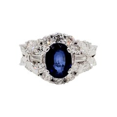 Estate Blue Sapphire Oval and White Diamond Cocktail Ring in 18 Karat White Gold