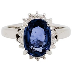 Estate Blue Sapphire Oval and White Diamond Cocktail Ring in Platinum