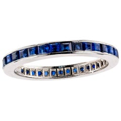 Estate Blue Sapphire Platinum Eternity Ring Size 7.5