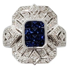 Estate Blue Sapphire Square and White Diamond Ring in Platinum