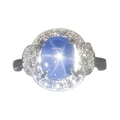 Estate Blue Star Sapphire and White Diamond Cocktail Ring in 18k White Gold