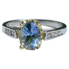 Estate Bluish-Lilac Sapphire Solitaire Engagement Ring Platinum and 18 Karat