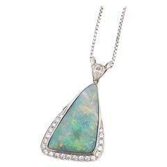 Estate Boulder Opal Cabochon and Diamond Necklace in Platinum