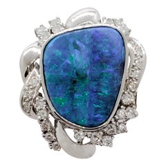 Estate Boulder Opal Freeform and White Diamond Ring in Platinum