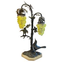 Estate Bronze Birds Table Lamp with Green Crystal Glass Grape Shades circa 1930s