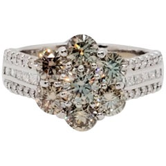 Estate Brown and White Diamond Round Floral Cluster Ring in Platinum