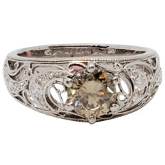 Estate Brown Diamond Round and White Diamond Ring in Platinum
