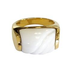 Estate Bulgari Carved White Ceramic 18 Karat Yellow Gold Ring