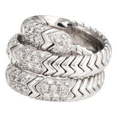 Estate Bulgari Spiga Diamond Band 18 Karat White Gold Flexible Ring Jewelry