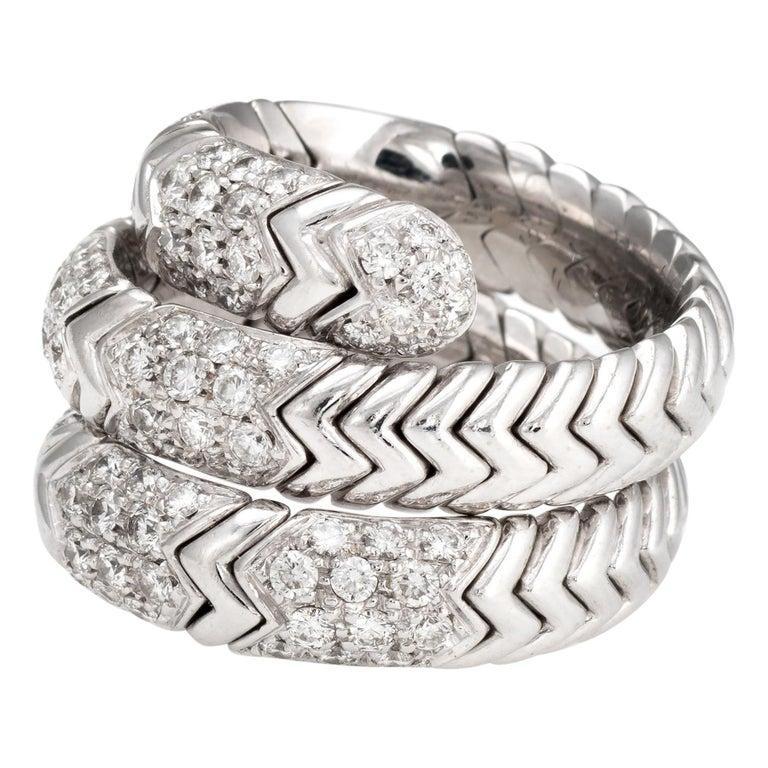 Estate Bulgari Spiga Diamond Band 18 Karat White Gold Flexible