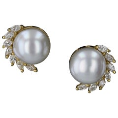 Estate Button Pearl and Marquise Diamond Earrings in 18 Karat Yellow Gold