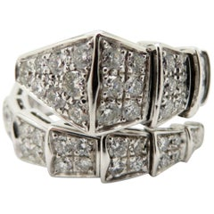 f33730272 Estate Bvlgari Serpenti 18 Karat White Gold Flexible Diamond Snake Band Ring