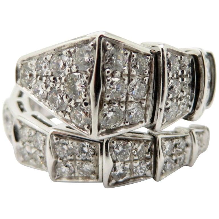 ecf577f3f3601 Estate Bvlgari Serpenti 18 Karat White Gold Flexible Diamond Snake Band Ring  For Sale