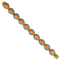 Estate Cabochon Coral Bracelet in Yellow Gold
