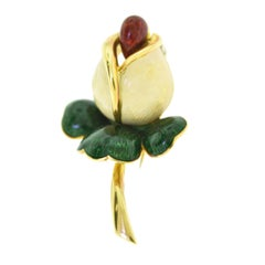 Estate Cartier 18 Karat Yellow Gold Tulip with Color Enamel Brooch Pin