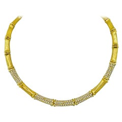Estate Cartier 5.00 Carat Diamond Bamboo Necklace