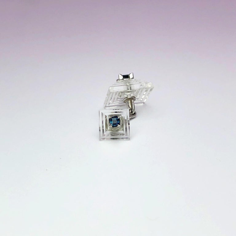 Estate Cartier Carved Crystal Pyramid Cufflinks with Blue Sapphires in Platinum In New Condition For Sale In New York, NY
