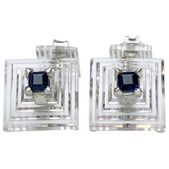 Estate Cartier Carved Crystal Pyramid Cufflinks with Blue Sapphires in Platinum
