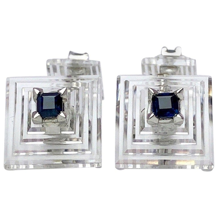 Estate Cartier Carved Crystal Pyramid Cufflinks with Blue Sapphires in Platinum For Sale