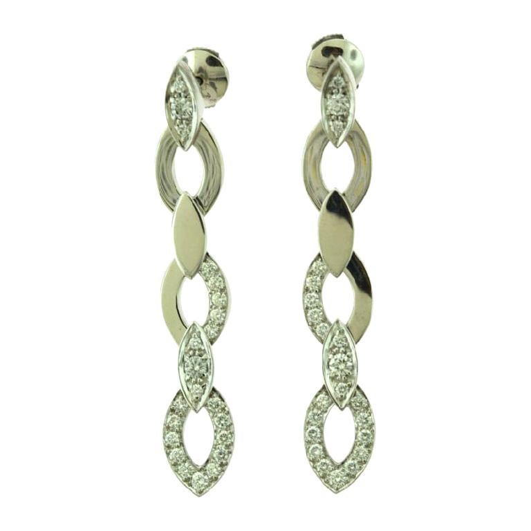 Estate Cartier Diamond Drop Marquise Shaped Long White Gold Earrings