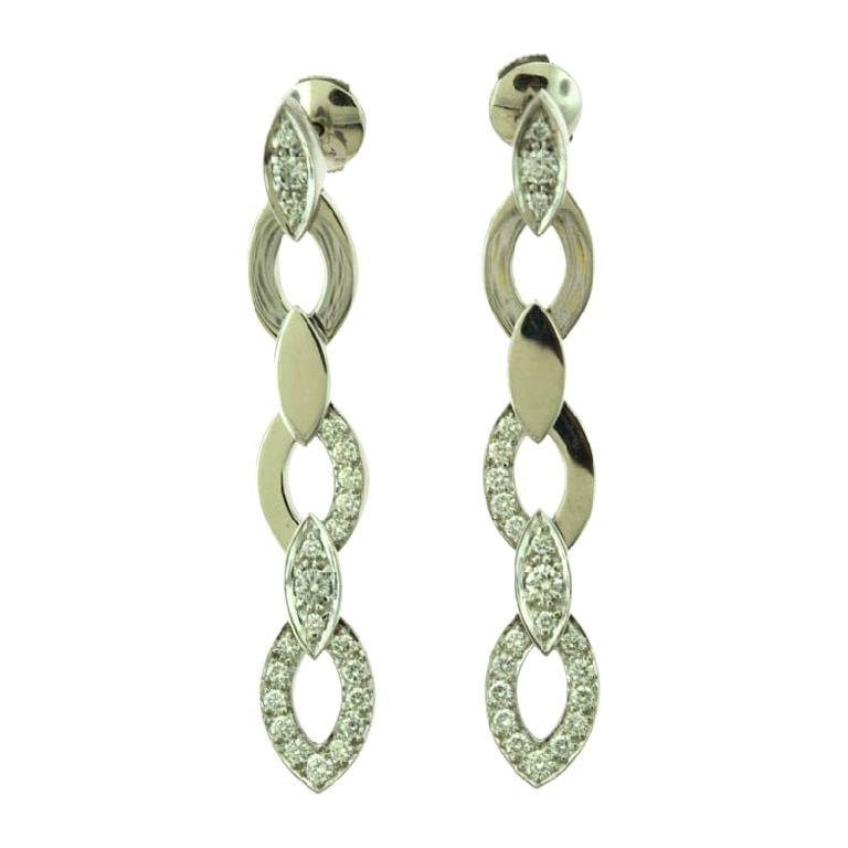 Estate Cartier Diamond Drop Marquise Shaped Long White Gold Earrings For Sale