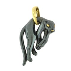 Estate Cartier Hanging Silverium Black Panther Gold Pendant