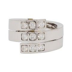 Estate Cartier White Diamond Spiral Ring in 18k White Gold