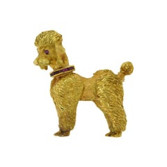 Estate Cartier Yellow Gold Poodle Brooch with Ruby Collar and Eyes