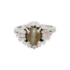 Estate Cat's Eye Chrysoberyl Oval Cabochon and White Diamond Cocktail Ring