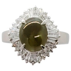Estate Cat's Eye Chrysoberyl Oval Cabochon and White Diamond Ring in Platinum
