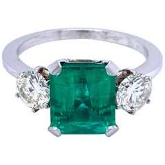 Estate Certified 2.75 Carat Colombian Emerald Diamond Platinum Ring