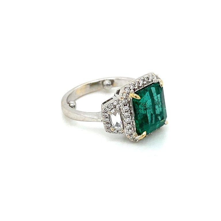 Estate Certified 3.34 Carat Natural Colombian Emerald Diamond Ring For Sale 7