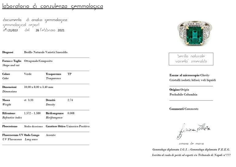 Estate Certified 3.34 Carat Natural Colombian Emerald Diamond Ring For Sale 12