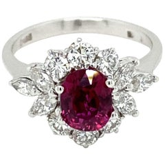 Estate Certified Unheated Ruby Diamond Ring