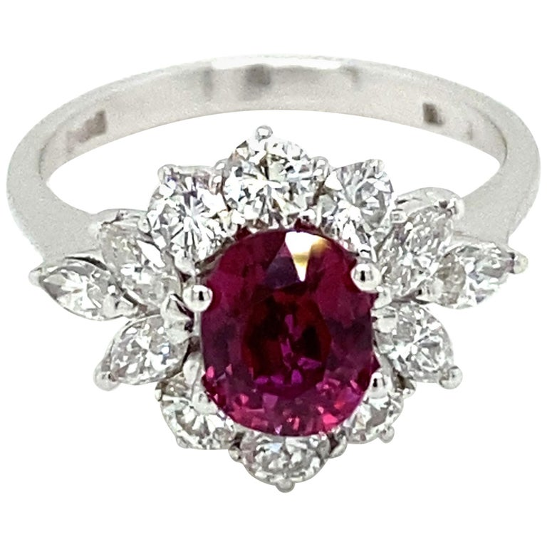Estate Certified Unheated Ruby Diamond Ring For Sale