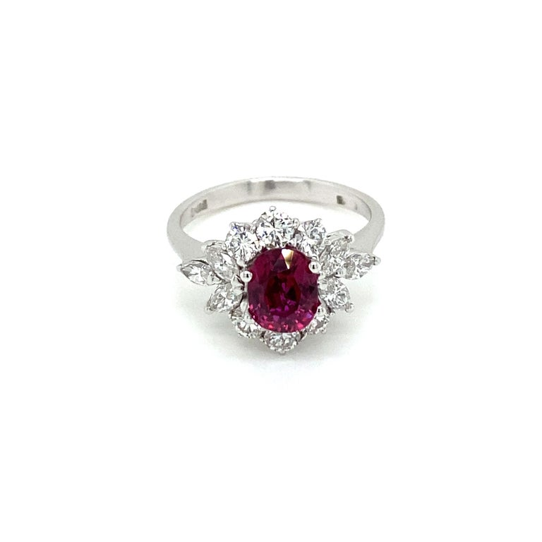 Estate Certified Unheated Ruby Diamond Ring For Sale 4