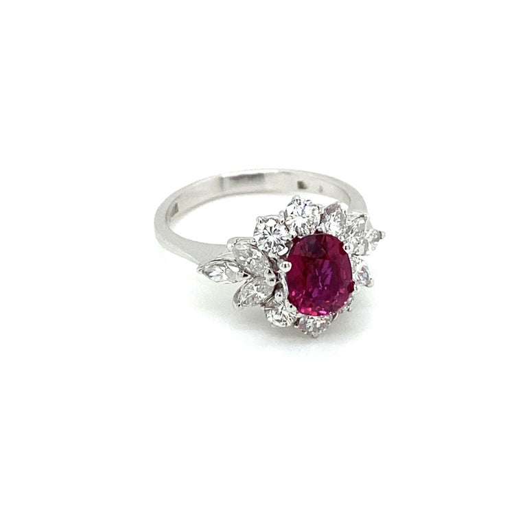 Contemporary Estate Certified Unheated Ruby Diamond Ring For Sale
