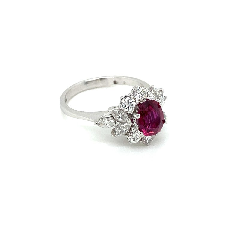 Oval Cut Estate Certified Unheated Ruby Diamond Ring For Sale