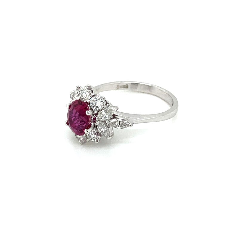 Estate Certified Unheated Ruby Diamond Ring For Sale 1